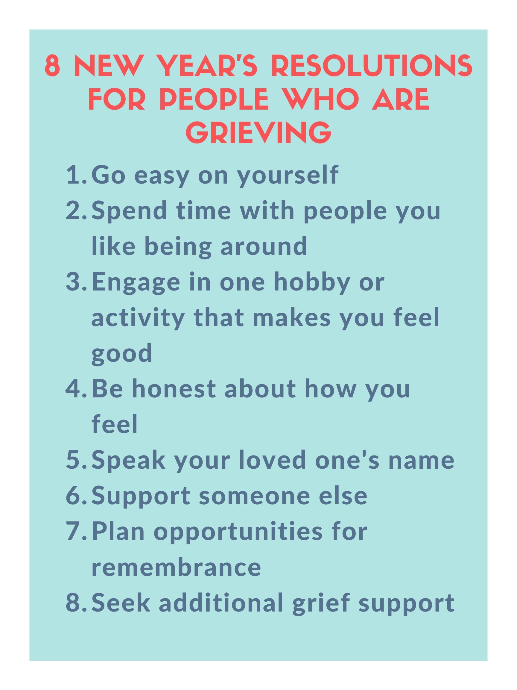 New Year's Resolutions for People who are Grieving