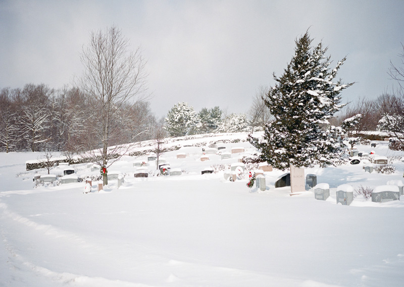 a cemetery in the wintertime