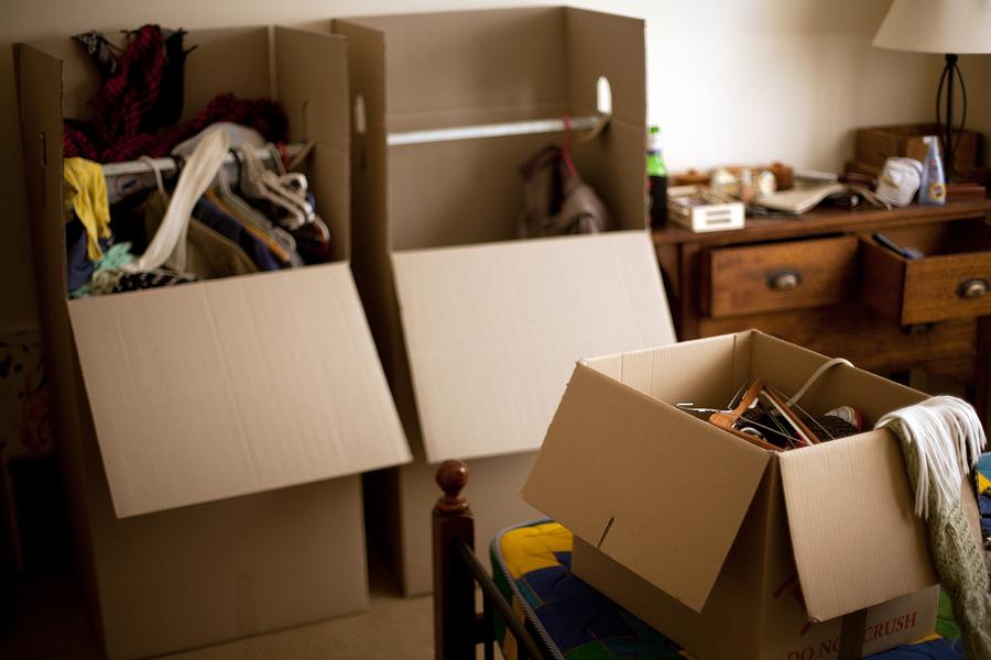 sorting through belongings
