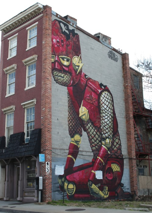 mural of a superhero