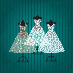 three wedding dresses