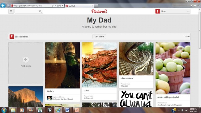 grief and pinterest: board to commemorate my dad