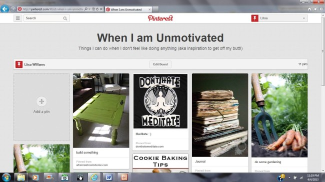 grief and pinterest: when I am unmotivated board