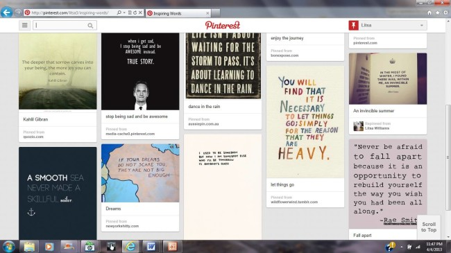 grief and pinterest: inspiring words