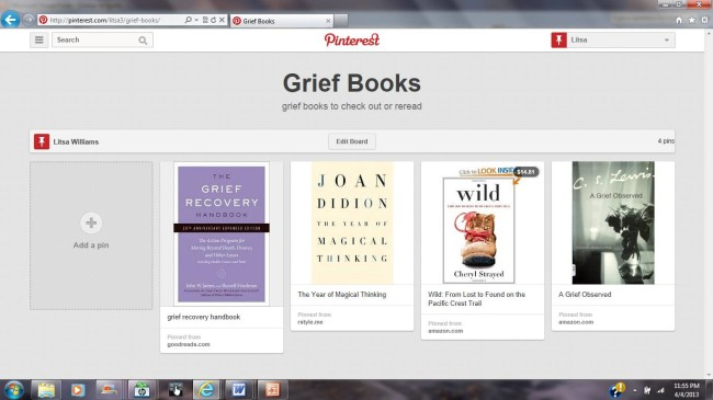 grief and pinterest: grief books