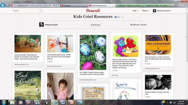 grief and pinterest: kids grief resources