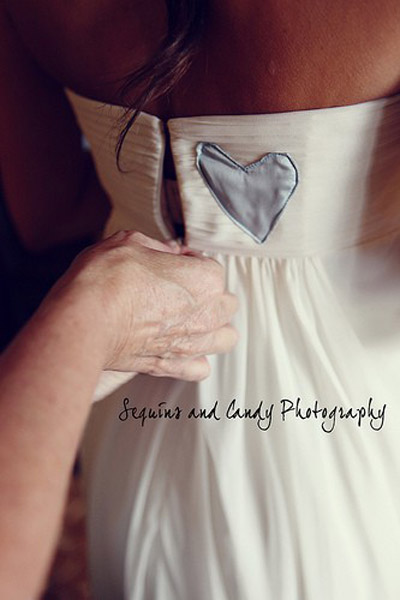 Wedding dress with blue fabric heart patch