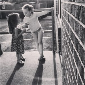 black and white photo of eleanor's two daughters