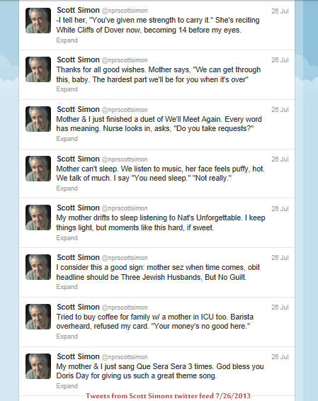 scott simon tweeting about his mother in the ICU