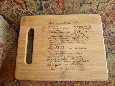 handwriting on cutting board