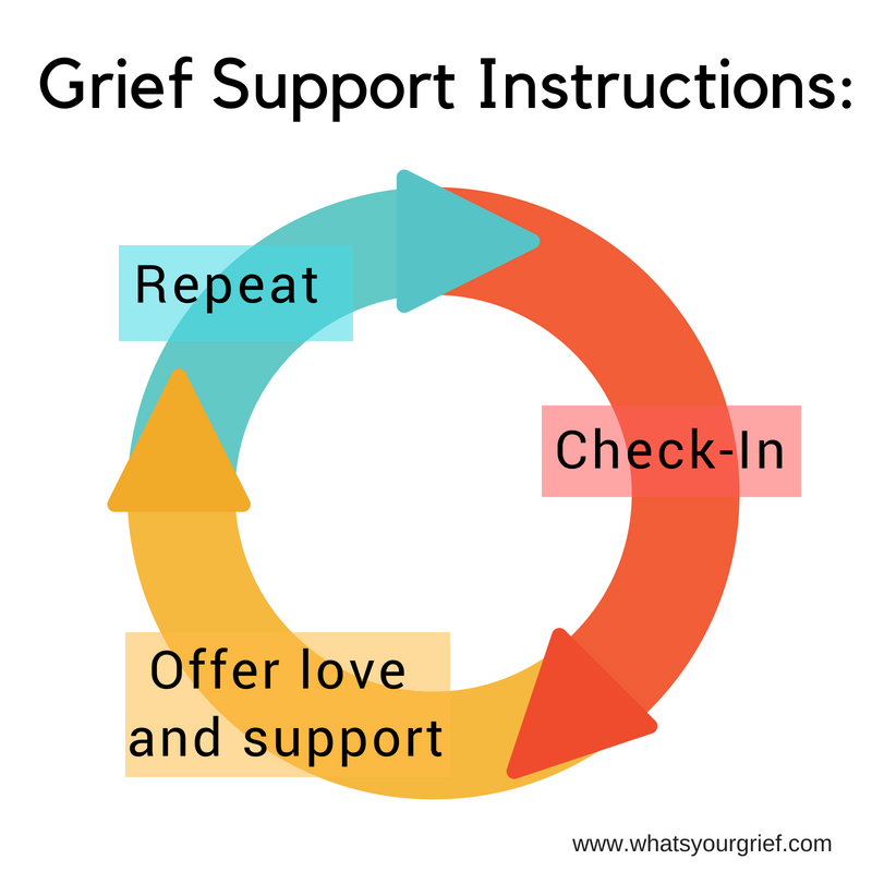 grief support instructions: check in; offer love and support; repeat
