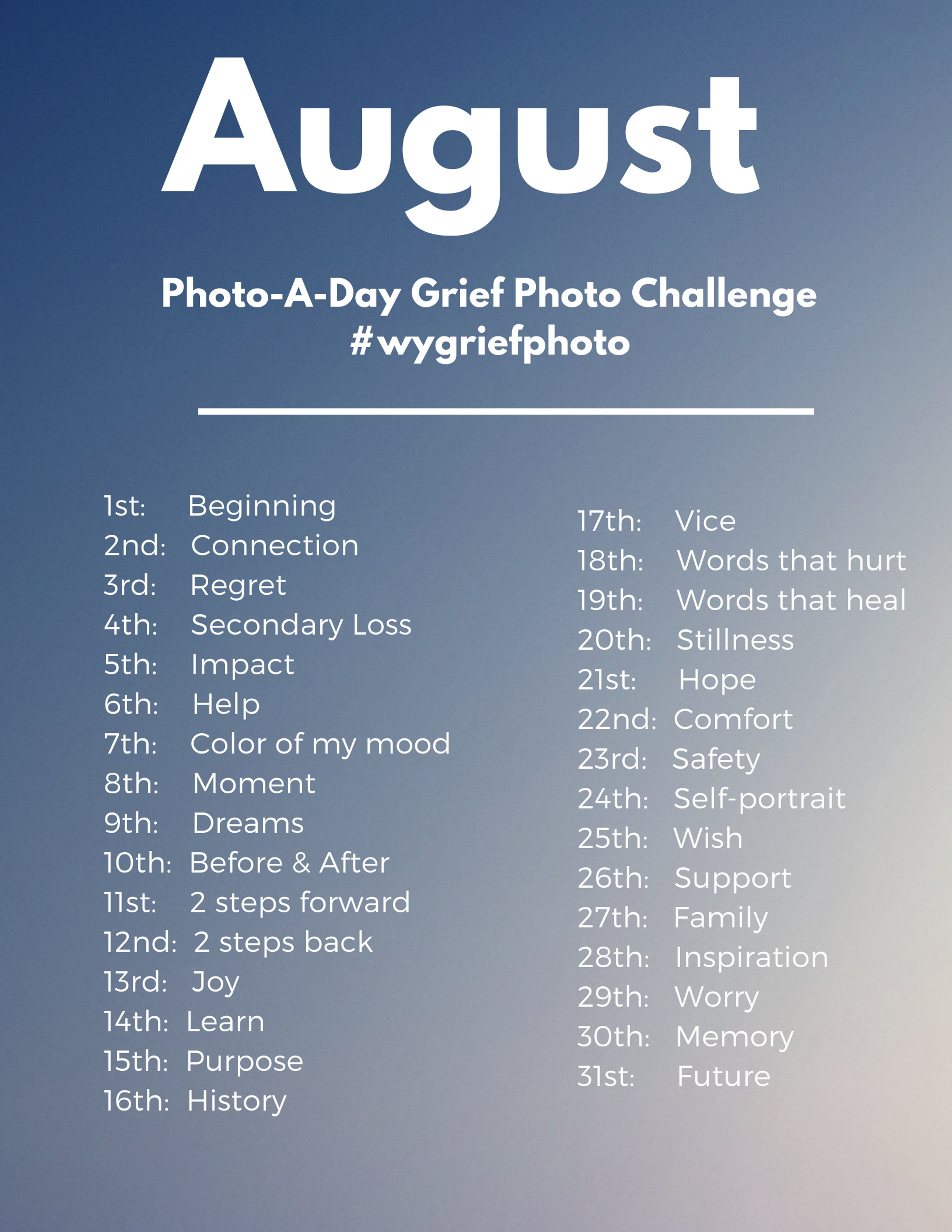 august photo-a-day grief photo challenge prompts
