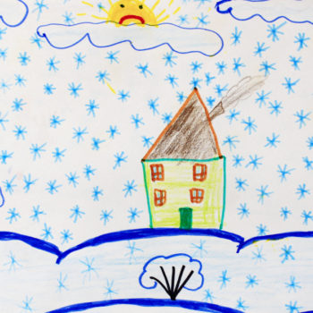 child drawing winter house