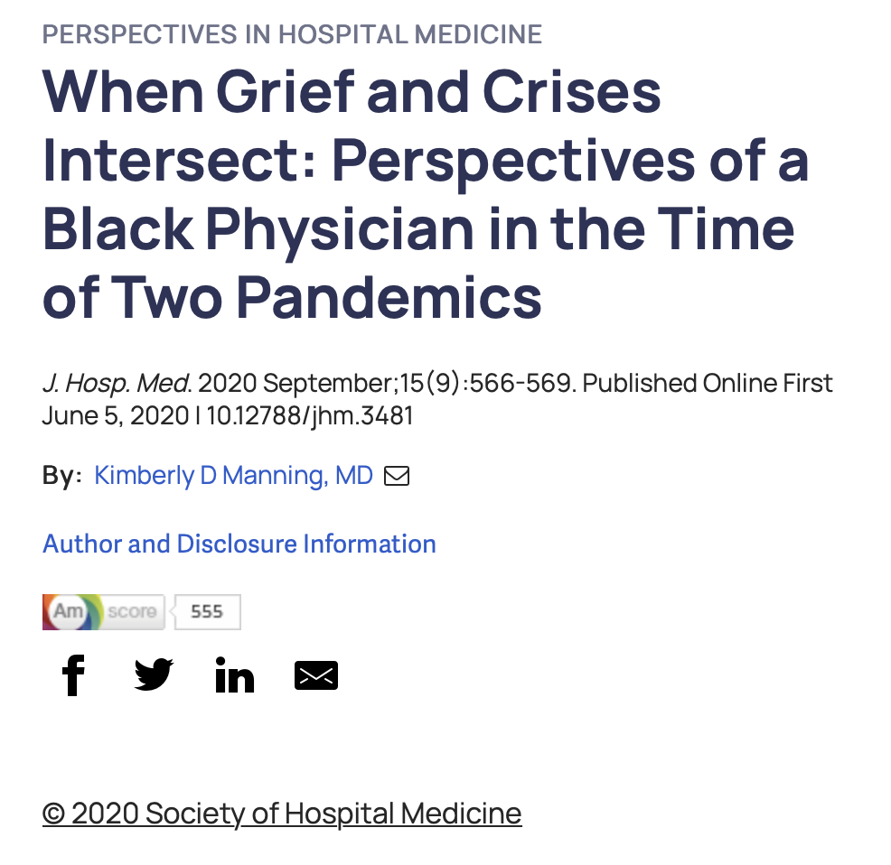 When Grief and Crises Intersect: Perspectives of a Black Physician in the Time of Two Pandemics
