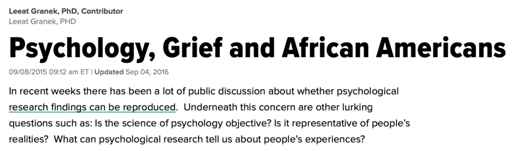 Psychology, Grief and African Americans