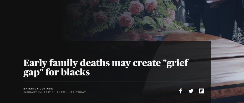 """Early family deaths may create """"grief gap"""" for blacks"""