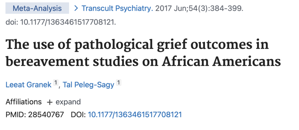 The use of pathological grief outcomes in bereavement studies on African Americans