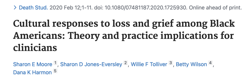 Cultural responses to loss and grief among Black Americans: Theory and practice implications for clinicians